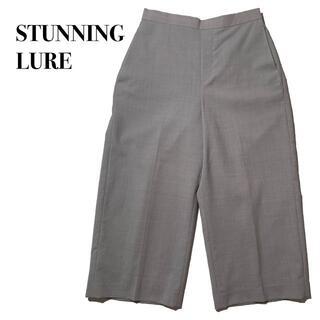 STUNNING LURE - 美品スタニングルアー ワイドガウチョパンツ スラックス グレー M ウエストゴム