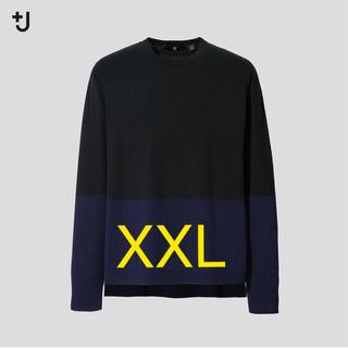 ジルサンダー(Jil Sander)のXXL +J シルクコットンクルーネックセーター カラーブロック(ニット/セーター)