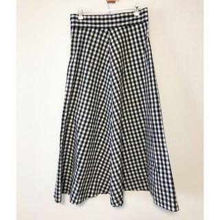 ジーユー(GU)のgu ギンガムチェック フレアロングスカート (ブラック)(ロングスカート)