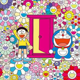 村上隆 どこでもドアでお花畑にやって来た! ポスター(ポスター)