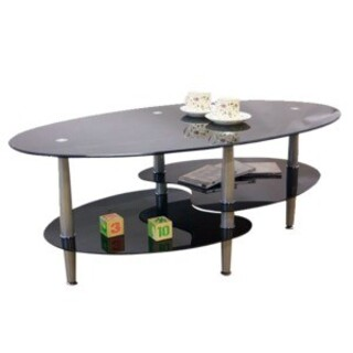 強化ガラステーブル(ローテーブル) 高さ43cm スチール脚 ブラック(黒)(ローテーブル)