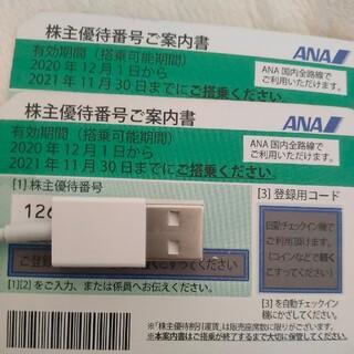 エーエヌエー(ゼンニッポンクウユ)(ANA(全日本空輸))のANA株主優待券2枚《 明日まで》(航空券)
