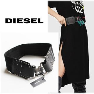 ディーゼル(DIESEL)の 《ディーゼル》新品 イタリア製 レザー切替 ウエストマーク スタッズベルト 黒(ベルト)