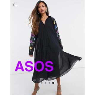 asos - ASOS ロングスリーブ プリーツ刺繍ロングワンピース
