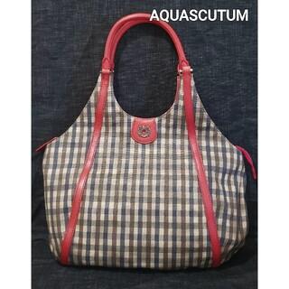 アクアスキュータム(AQUA SCUTUM)の大変美品 アクアスキュータム 可愛いチェックのトートバッグ(ハンドバッグ)