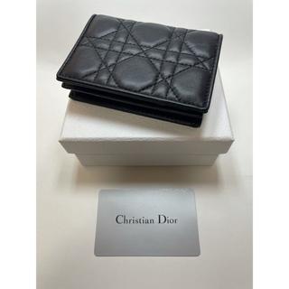 クリスチャンディオール(Christian Dior)のクリスチャンディオール カナージュ レザー カードケース 名刺入れ ブラック(名刺入れ/定期入れ)