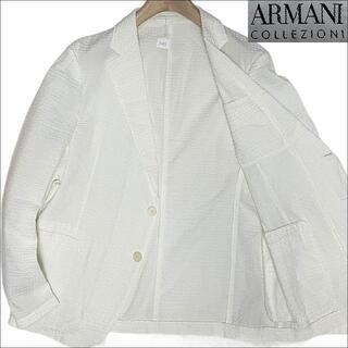 ARMANI COLLEZIONI - J3098 美品 アルマーニコレッツォーニ シアサッカーサマージャケット白54
