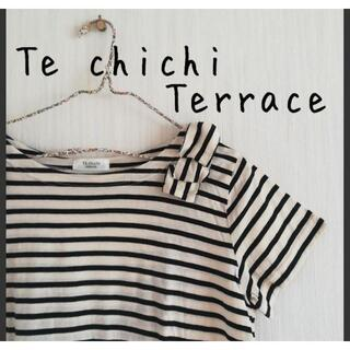 テチチ(Techichi)の美品 Te chichi Terrace テチチテラス リボン ボーダーTシャツ(Tシャツ(半袖/袖なし))