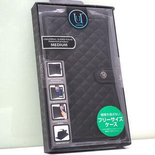 スマートフォン 汎用 手帳型ケース マルチカバー Mサイズ 黒メッシュ(モバイルケース/カバー)