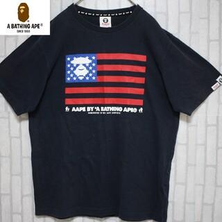 アベイシングエイプ(A BATHING APE)のアベイシングエイプ ブラック でかロゴ 星条旗 A Bathing Ape(Tシャツ/カットソー(半袖/袖なし))