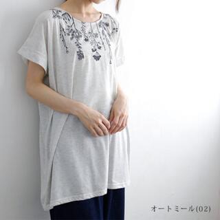 tuck up 半袖   刺繍カットソーチュニック 大きいサイズ(チュニック)