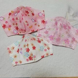 接触冷感生地使用!女の子用幼児インナーマスク 3枚set 花柄3種(外出用品)