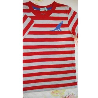 ハッカキッズ(hakka kids)の新品ハッカキッズHAKKAkidsTシャツボーダー恐竜赤130(Tシャツ/カットソー)