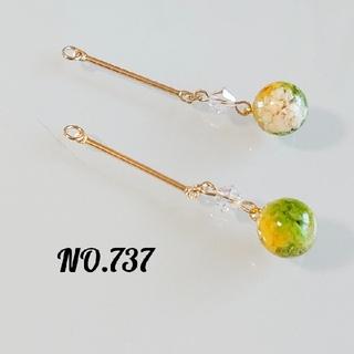 【No.737】ドライフラワーの球体ピアス イヤリング(ピアス)