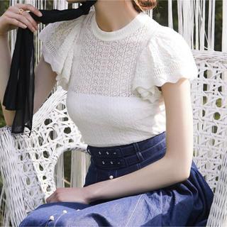 エイミーイストワール(eimy istoire)のケープスリーブopenwork knit ブラック(カットソー(半袖/袖なし))