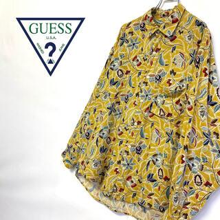 ゲス(GUESS)の美品 レア ジャマイカ製 GUESS 総柄シャツ メンズM (シャツ)