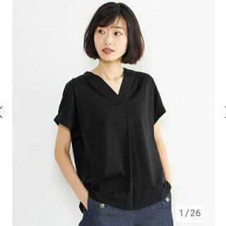 プラステ(PLST)のプラステ Vネックカットソー M 黒(シャツ/ブラウス(半袖/袖なし))