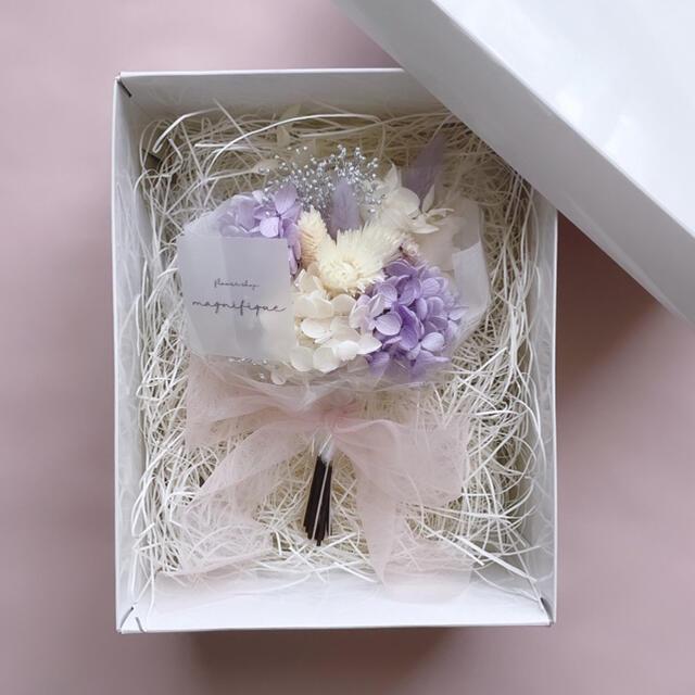 パープル系 ドライフラワー 花束 ブーケ ギフト ボックスインブーケ プリザ ハンドメイドのフラワー/ガーデン(ドライフラワー)の商品写真