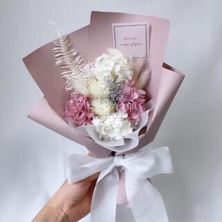 ピンク系 ドライフラワー ラッピングブーケ 花束 ブーケ ギフト プリザ(ドライフラワー)