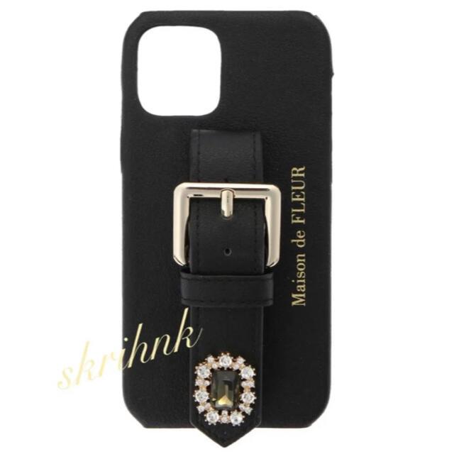 Maison de FLEUR(メゾンドフルール)の♡メゾンドフルール♡ビジューベルトiPhone12ケース♡黒♡ジルスチュアート スマホ/家電/カメラのスマホアクセサリー(iPhoneケース)の商品写真