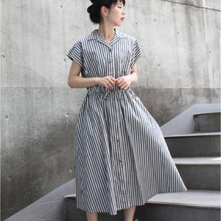 CHILD WOMAN - 先染めグレンチェック/ストライプリボン付 開襟シャツワンピース