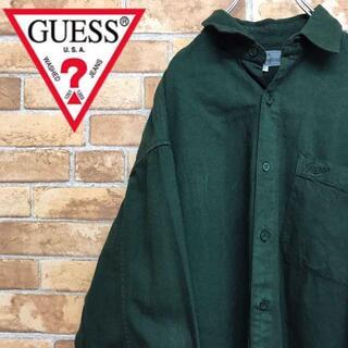 ゲス(GUESS)の【ゲス】90s usa製 コットンシャツ BD グリーン 緑 古着男子 刺繍ロゴ(シャツ)