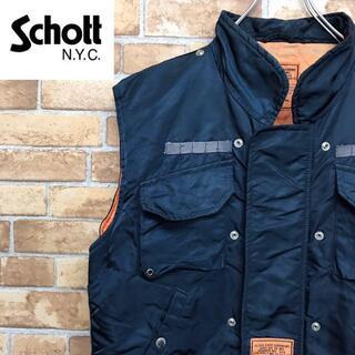 schott - 【ショット】ナイロン 中綿ベスト サイドレース編み ネイビー オレンジ 古着男子