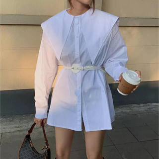 big collar shirt / white ベルト付き(シャツ/ブラウス(長袖/七分))