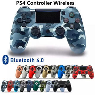PS4 ワイヤレスコントローラ 互換品  ★迷彩柄ブルー★(その他)