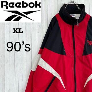 リーボック(Reebok)のリーボック 90's ナイロンジャケット 刺繍ロゴ ビッグサイズ 赤 黒 XL(その他)