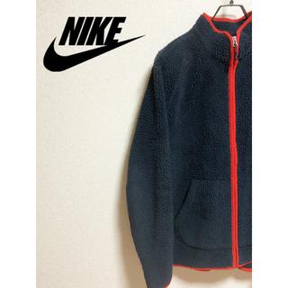 ナイキ(NIKE)の90s NIKE ナイキ ボアフリースジャケット ネイビー 紺 レッド 赤(ブルゾン)