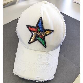 ヨシノリコタケ(YOSHINORI KOTAKE)のTRE STAR スパンコール星ホワイトキャップ クラッシュ トレスター(キャップ)