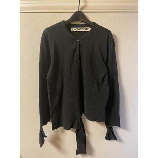 サボタージュ(sabotage)のサボタージュ sabotage カットソー Tシャツ ロンT 長袖 黒 ブラック(Tシャツ/カットソー(七分/長袖))