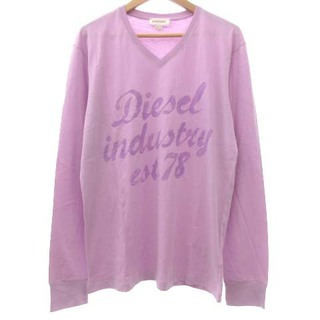 ディーゼル(DIESEL)のディーゼル DIESEL 美品 Tシャツ カットソー 長袖 プリント 紫 L(Tシャツ/カットソー(七分/長袖))