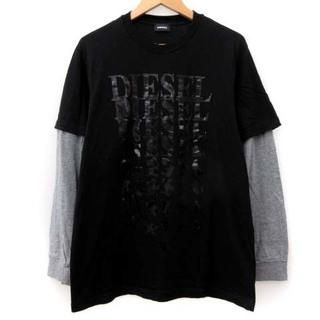 ディーゼル(DIESEL)のディーゼル 近年モデル Tシャツ カットソー 長袖 プリント 黒 グレー 16(Tシャツ/カットソー(七分/長袖))