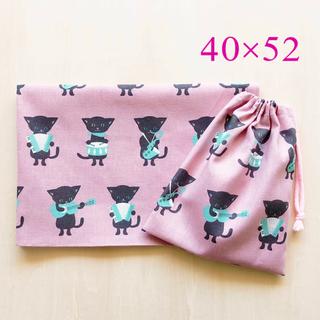 給食セット 巾着&ランチョンマット プティデポーム猫の楽団*ピンク*片紐(外出用品)