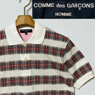 COMME des GARCONS - 希少!未使用!日本製!コム デ ギャルソンオム  チェックボーダー ポロシャツ