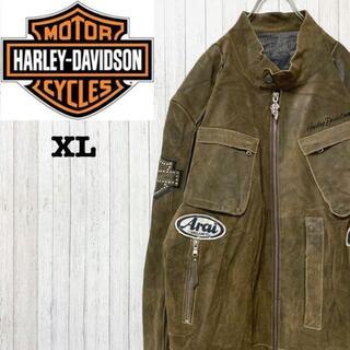 ハーレーダビッドソン(Harley Davidson)のハーレーダビッドソン ライダースジャケット レザー 革ジャン 刺繍 本革 XL(ライダースジャケット)