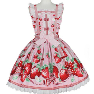 アンジェリックプリティー(Angelic Pretty)の摘みたていちごエプロン風ジャンパースカート3点セット ピンク(ひざ丈ワンピース)