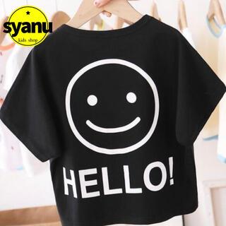 キッズ モノクロにこちゃんTシャツ 韓国子供服 男女兼用 トップス ブラック(Tシャツ/カットソー)