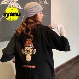 でかゴリラバックプリントレディースTシャツ 韓国ファッションオルチャン黒MLXL(Tシャツ(半袖/袖なし))