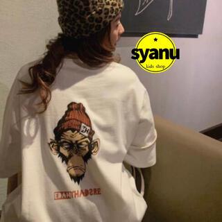 でかゴリラバックプリントレディースTシャツ 韓国ファッションオルチャン白MLXL(Tシャツ(半袖/袖なし))