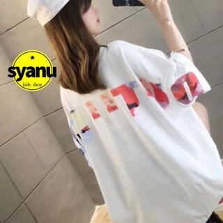 レインボーバックプリントレディースTシャツ 韓国オルチャンファッション白MLXL(Tシャツ(半袖/袖なし))