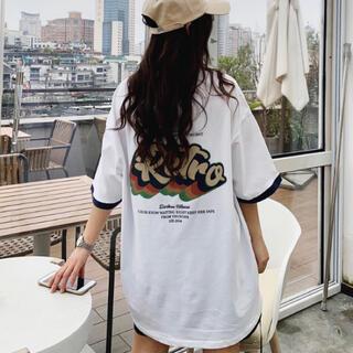レトロオーバーサイズバックプリントレディースTシャツ 韓国オルチャン 白MLXL(Tシャツ(半袖/袖なし))