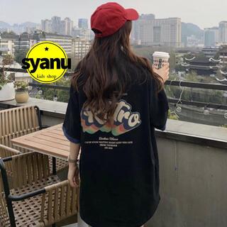 レトロオーバーサイズバックプリントレディースTシャツ 韓国オルチャン 黒MLXL(Tシャツ(半袖/袖なし))