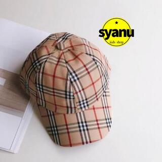 キッズ くすみカラーチェックキャップ 韓国子供服 男女兼用 帽子(帽子)