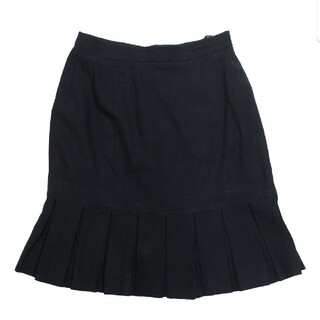 シャネル(CHANEL)のシャネル ボックスブリーツ スカート 黒94305 サイズ36(ひざ丈スカート)