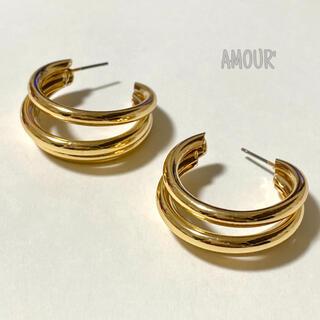 シールームリン(SeaRoomlynn)のthree hoop pierce〈GOLD〉(ピアス)