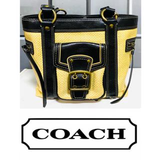 コーチ(COACH)の❣️状態良い❣️コーチCOACH  ストローハンドバッグ かご ブラック(かごバッグ/ストローバッグ)