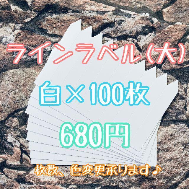 ◎ 100枚 ◎ 白 ( 大 ) ラインラベル 園芸ラベル カラーラベル ハンドメイドのフラワー/ガーデン(プランター)の商品写真